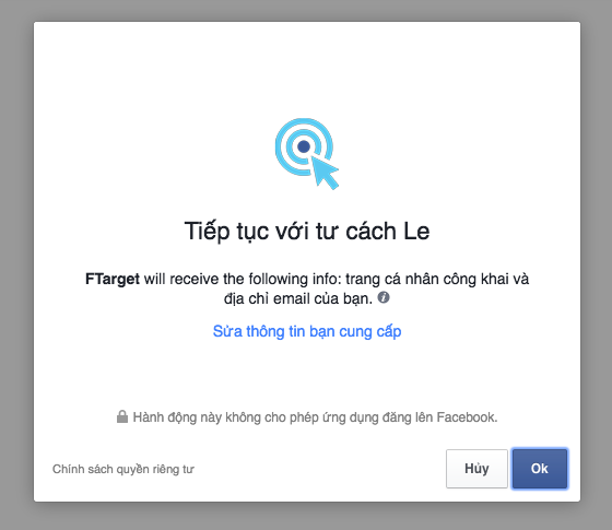 Cấp quyền truy cập Facebook