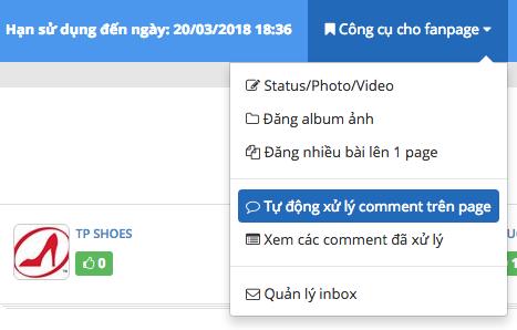 Menu tự động xử lý comment trên page